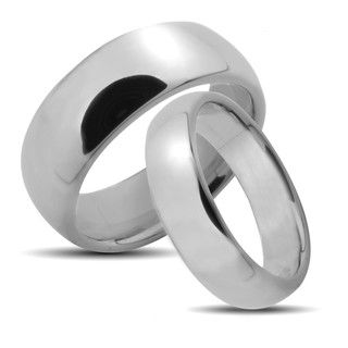 Tungsten Carbide Polished Classic His and Hers Wedding Band Set