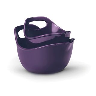 Rachael Ray Purple 2 piece Stoneware Mixing Bowls Set