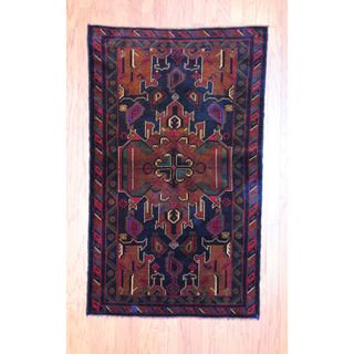 Afghan Hand knotted Tribal Balouchi Black/ Light Brown Wool Rug (36 x