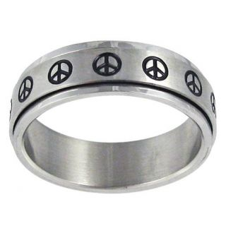 Stainless Steel Peace Sign Spinner Ring Today $19.39 3.8 (5 reviews