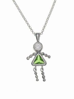 Sterling Silver Girl August Birthstone Necklace with Rolo