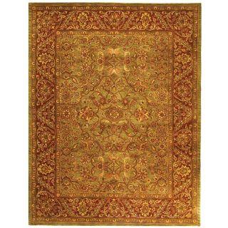 Handmade Taj Mahal Green/ Rust Wool Rug (96 x 136)