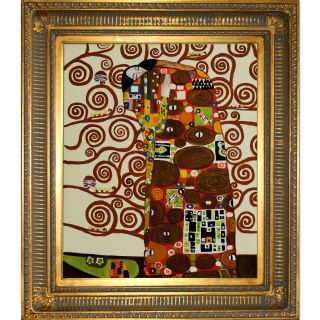 Gustav Klimt Fulfillment The Embrace Framed Hand painted Canvas Art