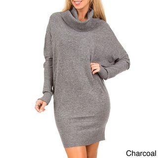 Stanzino Womens Cowl Neck Wide Sleeve Sweater Dress