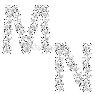 Hand drawing ornamental alphabet. Letter MN  Stock Photo © Aleksandr