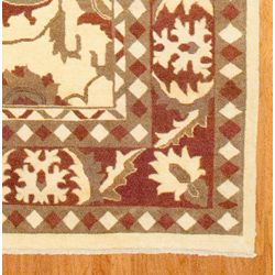 Afghani Hand knotted Vegetable Dye Ivory Oushak Wool Rug (96 x 138