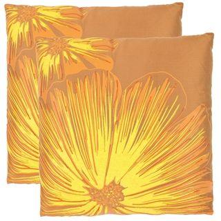 Botanical 18 inch Orange/ Yellow Decorative Pillows (Set of 2