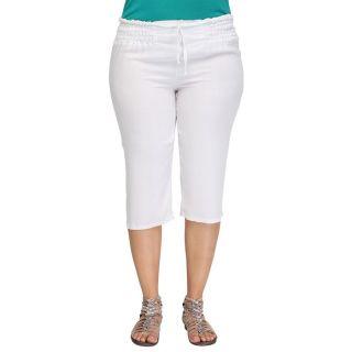 ALISON B Pantacourt Femme Grandes Tailles Blanc   Achat / Vente