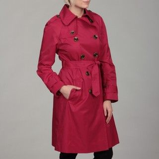 London Fog Womens Raspberry Double breasted Trench Coat
