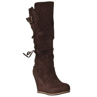 Riverberry Womens Chandler Brown Wedged Boots