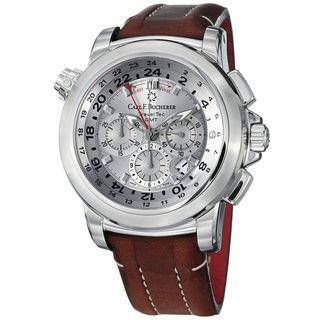 Carl F. Bucherer Mens Patravi Brown Leather Strap Chronograph Watch