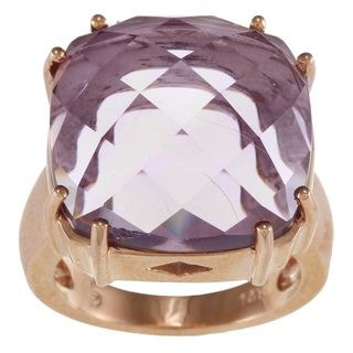 14k Rose Gold Cushion cut Amethyst Ring