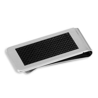 Stainless Steel Black Carbon Fiber Inlay Money Clip