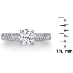 14k White Gold 1 1/4ct TDW Certified Diamond Engagement Ring (H, SI3