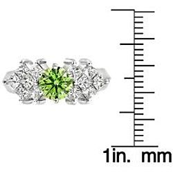 14k White Gold 1 5/8 ct TDW Green and White Diamond Ring (SI2, VS2