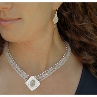Sterling Silver Rose Quartz/ Pearl/ Moonstone Necklace (USA