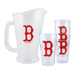 Boston Red Sox MLB Pitcher and Pint Glasses Set