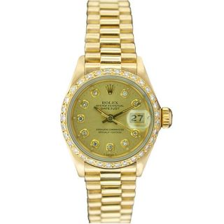 Pre owned Rolex Womens President 18k Gold Champagne Diamond Dial