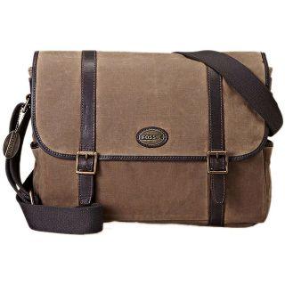 Fossil Mens Estate Canvas/ Leather Messenger Bag