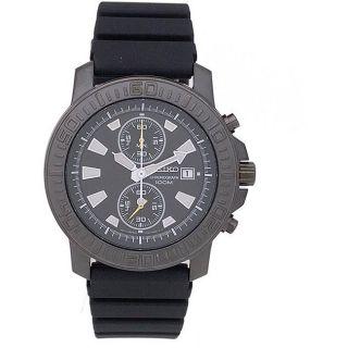 Seiko Mens Black Dial Alarm Chronograph Watch