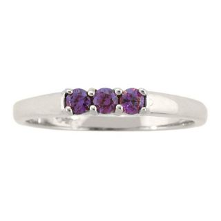 10k Gold February Birthstone Amethyst 3 stone Ring