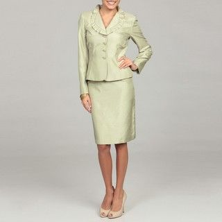 Tahari Womens Pistachio Green Ruffle Skirt Suit
