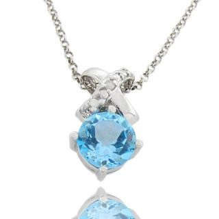 Sterling Silver Blue Topaz and Diamond Accent X Necklace