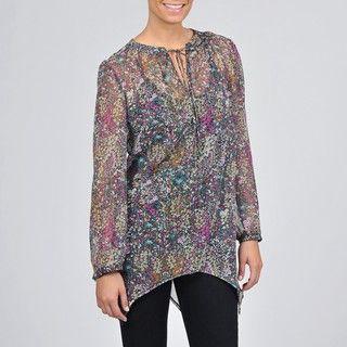 AnnaLee + Hope Womens Sheer Floral print Top