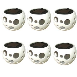 White Round Ceramic Solar Lights Pot with Bubble Cutouts (Set of 6