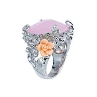 Silvertone Rose Stone, Crystal and Resin Florets Filigree Ring