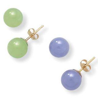 Angelina DAndrea 14k Yellow Gold Green and Lavender Jade 2 pair