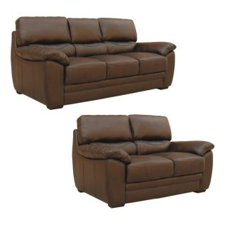 Mesa Chocolate Italian Leather Sofa and Loveseat