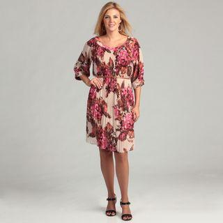 Jessica Howard Womens Rose Pleated Plus Dress