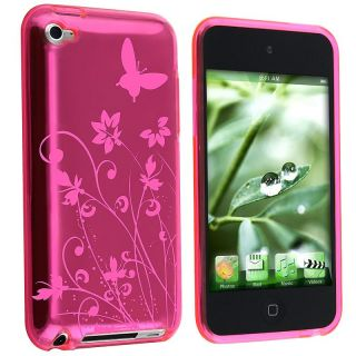 Hot Pink Butterfly TPU Rubber Case for Apple iPod touch 4th Gen