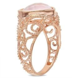 Miadora Pink Silver Heart shaped Rose Quartz Cocktail Ring