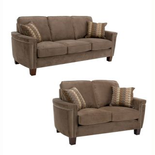 Premier Brown Velvet Fabric Sofa and Loveseat