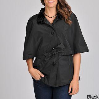 Betsey Johnson Womens Cape Belted Rain Coat
