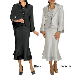 Divine Apparel Womens 3 piece Missy Vest Skirt Suit Set