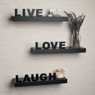 Laminate Live, Love, Laugh Inspirational Wall Shelves (Set of 3