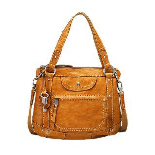Fossil Liberty Tan Leather Satchel Handbag