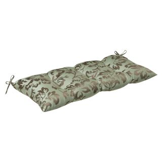 Pillow Perfect Outdoor Brown/Green Floral Tufted Loveseat Cushion with