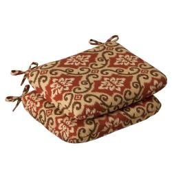 Pillow Perfect Outdoor Red/ Tan Damask Round Seat Cushion (Set of 2