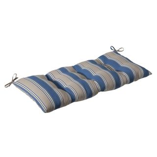 Pillow Perfect Outdoor Blue/ Tan Stripe Tufted Loveseat Cushion