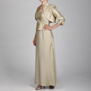 Jessica Howard Womens Petite 2 piece Beaded Tucked Dress