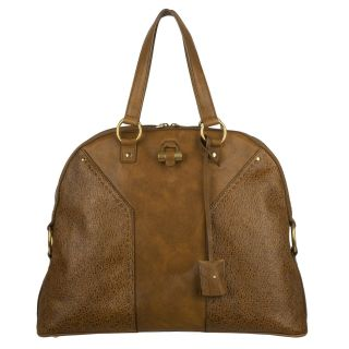 Yves Saint Laurent Muse Brown Pebbled Leather Tote Bag