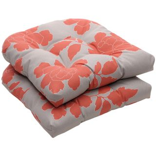 Outdoor Gray/Coral Floral Wicker Seat Cushions (Set of 2)