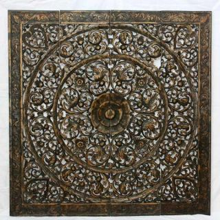 Recycled Teak Wood Black Stain Natural Wax Lotus Panel (Thailand