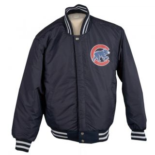 JH Designs Mens Chicago Cubs Reversible Wool Varsity Jacket