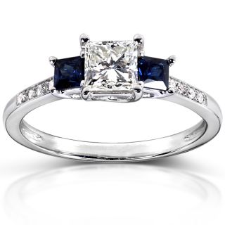 14k Gold 3/4ct TDW Certified Diamond and Blue Sapphire Ring (I, SI1