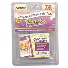 Brother 1/2 Inch x 26.2 Feet Black on Clear Acid Free Tape